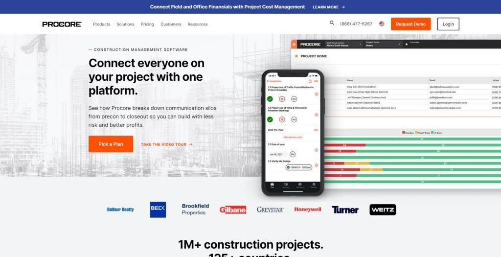 Procore Software Homepage